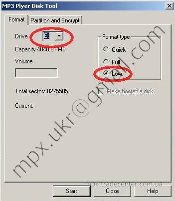 MP3 Player Disk Tool первая вкладка.