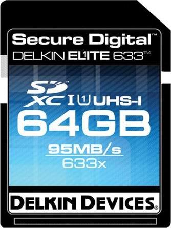 Скоростная карта памяти SDXC Delkin Elite 633 с памятью 64 Гбайт