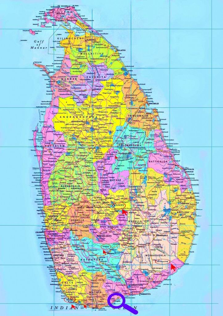 Карта Шри-Ланка.